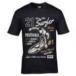 Premium 21 Year Old Surfer Beach Surfboard Motif For 21st Birthday gift men's Black t-shirt top
